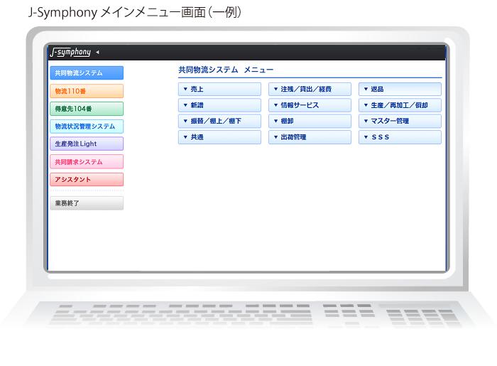 J-Symphonyメインメニュー画面(一例)